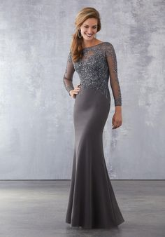 MORI LEE style 71716 Matte Scuba Special Occasion Dress with Intricate Beading on Net Bodice Grey Evening Dresses, Long Sleeve Evening Gowns, Dresses Elegant, Dressy Dresses, Prom Dresses, Wedding Dresses, Scala Dresses, Pageant Gowns, Graduation Dresses