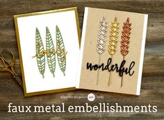 Faux Metal Video by Jennifer McGuire Ink - three layers of dies cuts + three layers of heat embossing