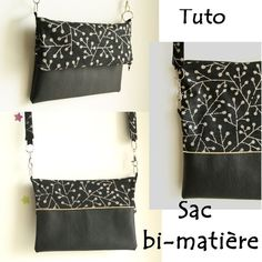 Le sac bi-matière (tuto) – Frénésie et moi Sewing Hacks, Sewing Tutorials, Sewing Patterns, Sewing Tips, Pochette Diy, Diy Sac, Diy Clutch, Diy Bags Purses, Couture Sewing