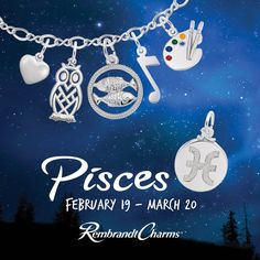 Bring on Pisces.... one who loves their along time, sleeping, music, romance and swimming and spiritual themes. Surprise the Pisces in your life with something special to represent them!   #jewelry #fashion #family #friends #love #silver #gold #charm #bracelet #giftideas #memories #timeless #jewelryaddict #charmcollector #charmbracelet #charms #happymoments #sleep #wise #owl #spiritual #romance #swimming #music #water #watersign #zodiacsign #artistic