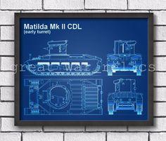 Matilda MK II - PATENT PRINT - Framed / WW2 British tank / Wall Art Poster
