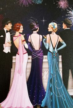 Ideas For Vintage Women Illustration Retro Art Deco Art Deco Illustration, Woman Illustration, Vintage Illustrations, Art Deco Cards, Vintage Outfits, Vintage Fashion, Art Deco Stil, Art Deco Posters, 1920s Art Deco