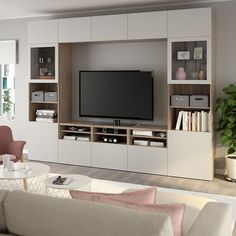 IKEA - BESTÅ, TV storage combination/glass doors, white, Lappviken light grey clear glass, The drawers have integrated push-openers so that you can open them with just a light push. Living Room Tv Unit, Ikea Living Room, Living Rooms, Tv Wanddekor, Tv Wall Decor, Tv Wall Design, Wall Storage, Tv Storage Unit, Record Storage