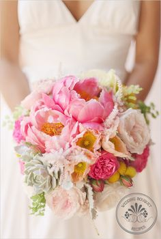Coral charm peonies (2-3)  Pink Piano garden roses (3-4)  O'Hara garden roses (3-4)  peach and butter colored Icelandic poppies (about 6)  pink and ivory lisianthus (4-5 stems)  pink astilbe (5-6 stems)  succulents (2-3)  pink ranunculus (5-6 stems)  craspedia (billy balls)  (8-9 stems)  dusty miller  maidenhair fern
