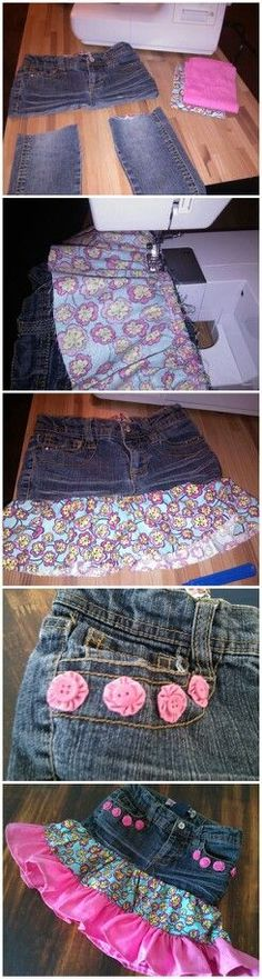 turning an old pair of kids jeans into a skirt | Upcycle old girls jeans into cute skirt. I made this for my daughter ...