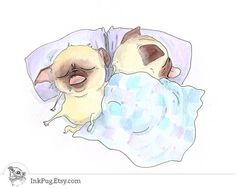 Pugs in Bed  Cute Cuddle Pugs True Love Card Pug by InkPug on Etsy, $3.95