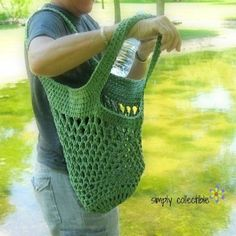 Free Pattern - Sturdiest Ever Market Bag #crochet pattern in olive on a camping trip by Celina Lane, Simply Collectible