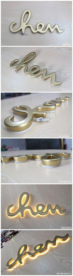 Plating Metal Similar Acrylic Reverse Lit Mini Letters Signage