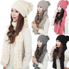 fea051eb0ab Winter Scarf Wrap Hat Set Knitted For Women Thicken Knitting Collars  Skullcaps  Unbranded  Scarf