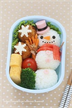 Snowman bento - looks like a little extra work but fun to try with your kids.  #kidshealth #kidsfood #bento  www.kurbo.com