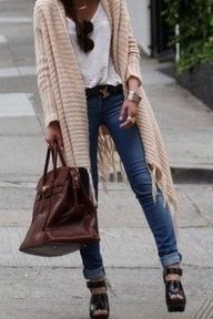 I love long cardigans with denims and plain white t-shirt.  A must have in anyone's wardrobe.