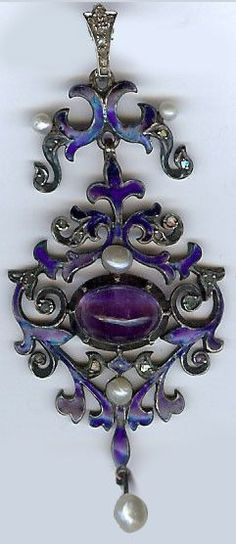 . Enamel Jewelry, Antique Jewelry, Vintage Jewelry, Purple Love, Purple Rain, Jewelry Tools, Jewelry Art, Amethyst Pendant, Amethyst Jewelry
