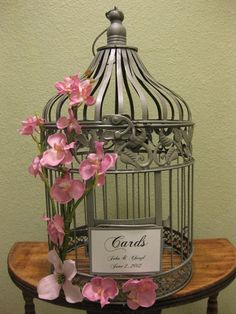 Silver Bird Cage Wedding Card Holder / by SouthburyTreasures....but let's make it white and take off the flowers :)