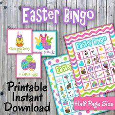 Easter Bingo Game  Printable PDF  30 different Cards  Half