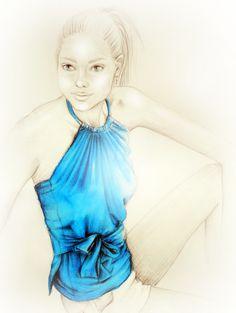Azure Blue Wrap Top 2