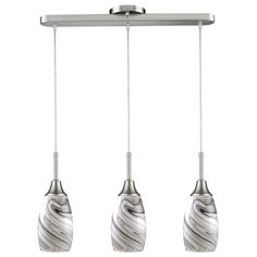 BELDI Peak Collection 3-Light Grey and Nickel Pendant-1933-P3 Grey - The Home Depot