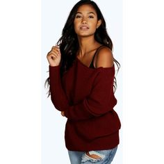 Boohoo Summer Slash Neck Jumper ($20) ❤ liked on Polyvore featuring tops, sweaters, wine, nordic sweater, red wrap sweater, sequin top, chunky turtleneck sweater and red sweater