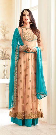 Apricot & Blue Designer Embroidered Net Anarkali Suit