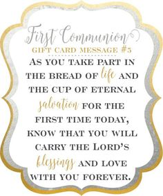10 first communion gift card messages as you take part in the bread of life