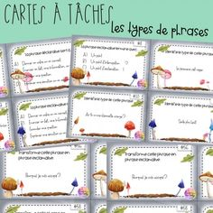 Cartes à tâches - Les types de phrases School Organisation, French For Beginners, Cycle 3, Grammar, Coaching, Classroom, Journal, Writing, Homeschooling