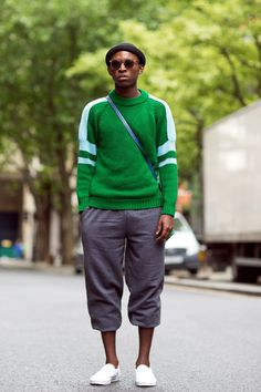 The 21 Most Fashionable Fellas In London #refinery29  http://www.refinery29.com/london-mens-fashion#slide-7  The green woolen jumper of our dreams.