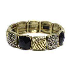 "Fashion Stretch Bracelet; 0.75""L; Burnished Gold Metal; Black Gemstones And Hematite Rhinestones; Eileen's Collection. $24.99"