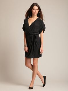 silk wrap dress. in black.