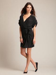 silk wrap dress. in black.