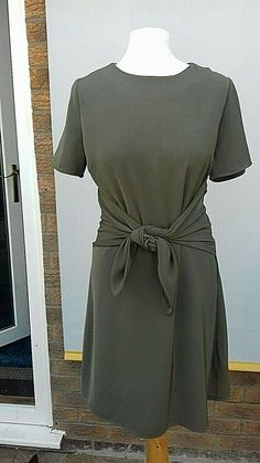 6a886182a8 New Look Dress Size 10 sage khaki green smart work ware summer tie front.