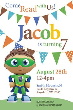 70 best maxs 3rd birthday images on pinterest 1 year birthday super why theme birthday invitation diy printable invitation by cici and bobo on filmwisefo
