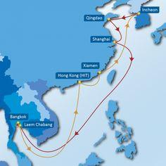 CHT SERVICE: Incheon-Qingdao-Shanghai-Laem Chabang-Bangkok-Laem Chabang-Hong Kong (HIT)-Xiamen-Incheon
