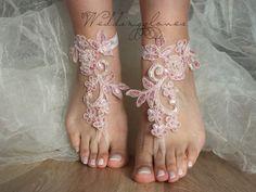 Pink Beach wedding barefoot sandals