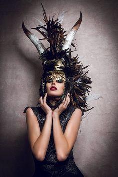 Longhorn feather mohawk Futuristic gaga halloween rocker Cleopatra Egyptian Fantasy headdress headpeice wig. $625.00, via Etsy.