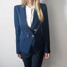 similiar to the Balmain Blazer. Balmain Blazer, Work Fashion, Workwear, Photo And Video, Navy, Jackets, Beauty, Instagram, Women