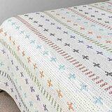 Kantha Quilt - White Hand Stitched - Sheet Bedspread Queen, King Queen Quilt, Queen Size Bedding, Linen Sheets, Linen Bedding, Embroidered Quilts, Kantha Stitch, Kantha Quilt, How To Make Bed, Quilt Cover