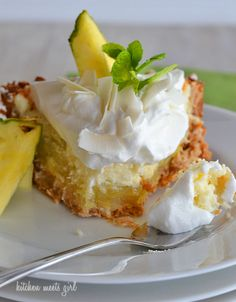 Pina Colada Icebox Pie... a three-layer pineapple, coconut, and cream pie!