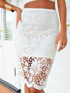 Fashion Crochet Lace Zipper Skirt on Luulla White Bridal Dresses, 2015 Wedding Dresses, Short Jean Skirt, Fashion Pants, Fashion Outfits, Teen Fashion, Womens Fashion, White Skirts, Crochet Lace