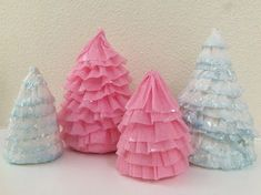 Fresh Vintage by Lisa S: Crepe Paper Trees Christmas Tree Cards, Christmas Candy, Holiday, Paper Trees, Paper Flowers, Candy Trees, Crepe Paper Streamers, Background Decoration, Seed Paper