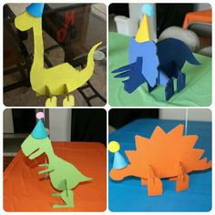Dinosaur Birthday Party, 4th Birthday Parties, Birthday Party Decorations, 2nd Birthday, Party Centerpieces, Art For Kids, Crafts For Kids, Party Fiesta, Dinosaur Crafts
