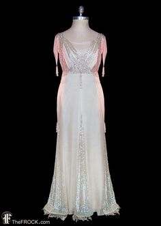 Wedding dress, antique Edwardian sequined beaded ivory silk chiffon fairytale fantasy, sleeveless, couture bridal dress, gelatin sequins