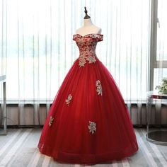 Hot Sale Beautiful Modest Prom Dresses Chic Ball Gowns Off-the-shoulder Burgundy Tulle Applique Modest Long Prom Dress Evening Dress Evening Dress Long, Burgundy Evening Dress, Evening Dresses, Red And Gold Dress, Red Prom Dresses 2017, Quinceanera Dresses, Dress Prom, Homecoming Dresses, Formal Dresses
