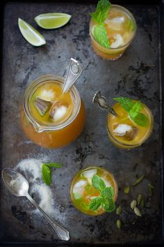 Moroccan Mojitos - white & dark rum, black tea, cardamom, sugar, mint, lime & lemon juice, rosewater, sparkling water [batch recipe]