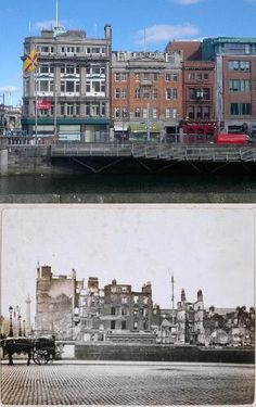 Eden Quay then & now looking across the Liffey from Burgh Quay. The devastation caused by the intense artillery and incendiary bombardment can be clearly seen here. A gunboat called 'The Helga' was used after being anchored by the British at Sir John Rodg Then And Now Pictures, Old Pictures, Old Photos, Ireland 1916, Dublin Ireland, Castle Series, Easter Rising, Irish Catholic, Ireland Homes
