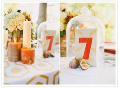 glass encased table numbers... could also use this for a bday party decoration