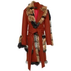 Faux Fur Wrap Coat  | Moda Operandi ($1,050) ❤ liked on Polyvore featuring outerwear, coats, christian siriano, red, long sleeve coat, fake fur coat, imitation fur coats and wrap tie belt