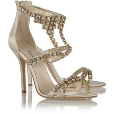 Oscar de la Renta Simona crystal-embellished satin sandals (2.970 RON) ❤ liked on Polyvore featuring shoes, sandals, crystal embellished sandals, almond toe shoes, high heel shoes, light grey shoes and oscar de la renta sandals