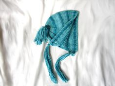 #Turquoise #blue #baby #bonnet and #socks, hat with #tassels by TinyOrchids, $30.00