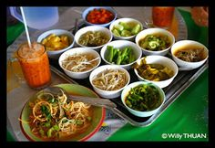 Kanom Jeen in Phuket Town (This place is only open for breakfast until 11am but it is recommended to get there by 10am b/c they run out of stuff, so if we are up early one morning and feel like going for a drive...it's noodles and your choice of curry)
