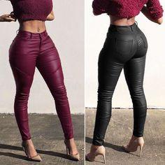 67f7304e26b Womens Lady Pvc Leather High Waist Pu Leggings Wet Look Stretch Trousers  Pants