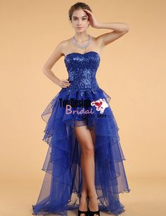 Wholesale Vestidos De Fiesta New 2017 Royal Blue High-Low Prom Dress Sequined Organza Evening Gown